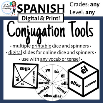 Subject Pronoun Dice & Spinner for Verb Conjugation Practi