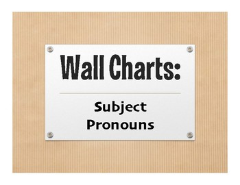 Spanish Subject Pronoun Wall Charts