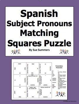 Spanish Subject Pronouns Matching Squares Puzzle - Pronomb