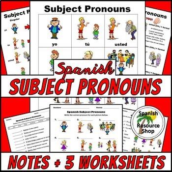 Spanish Subject Pronouns PICTURE Notes SET