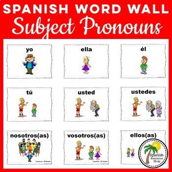 Spanish Subject Pronouns Posters and Word Wall