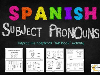Spanish Subject pronouns Interactive notebook tab book Bla