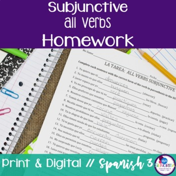 Spanish Subjunctive All Verbs Homework