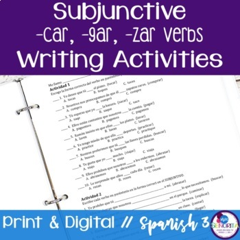 Spanish Subjunctive -car, -gar, -zar Verbs Writing Exercises