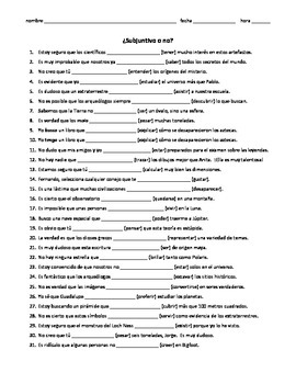 Spanish Subjunctive practice worksheet, subjunctive w/ dou