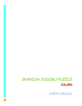 Spanish Sudoku Puzzle Colors - Colores actividad ~Spanish