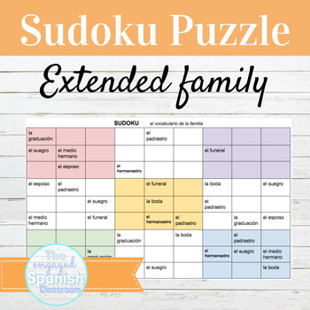 Spanish Sudoku activity for family relationship vocab; for