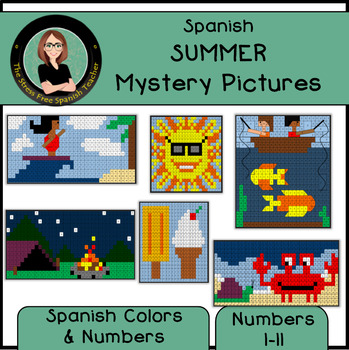 Spanish Summer Mystery Pictures! Color By Number / Grid