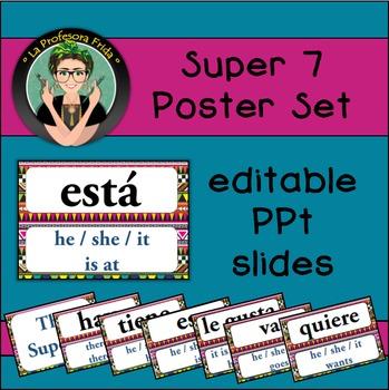 Spanish Super Seven {7} Poster Set {Editable!} Aztec design