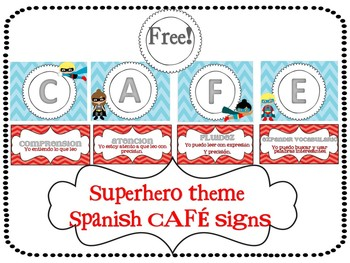 Spanish Superhero theme CAFE signs