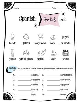 Spanish Sweets & Treats Words Worksheet Packet