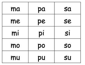 Spanish Syllable Cards K