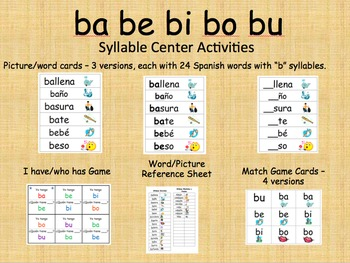 Spanish Syllable Centers - ba be bi bo bu