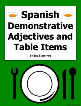 Spanish Table Items and Demonstrative Adjectives 18 Transl