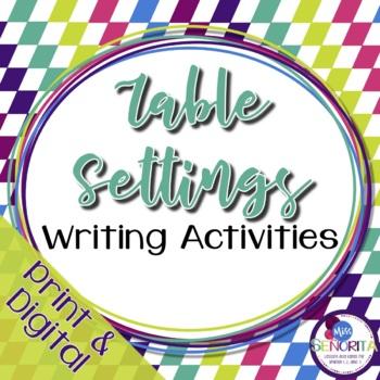 Spanish Table Settings Writing Activities