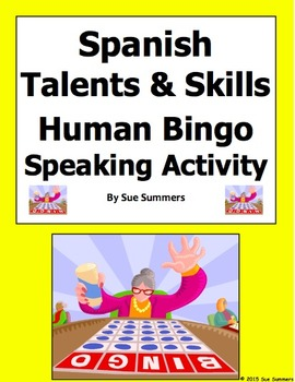 Spanish Talents and Skills Human Bingo Game Speaking Activ