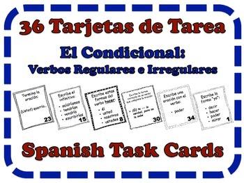 Spanish Conditional (Regular & Irregular Verbs) Task Cards