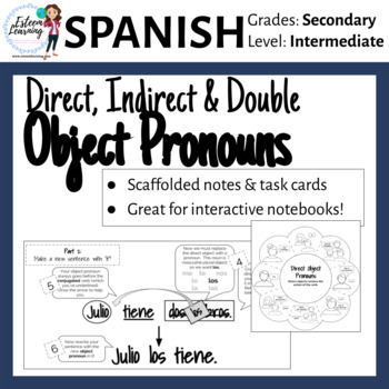 Spanish Task Cards and INB Notes for Direct, Indirect and