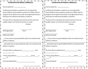 Spanish- Teacher-Parent Conference Letter