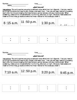 Spanish Telling Time Conversation Practice