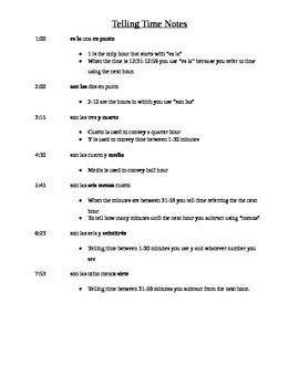 Spanish: Telling Time Notes