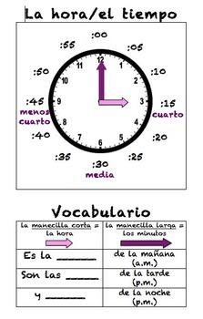 Spanish Telling Time Poster (La hora)