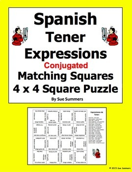 Spanish Tener Expressions Conjugated 4 x 4 Matching Square