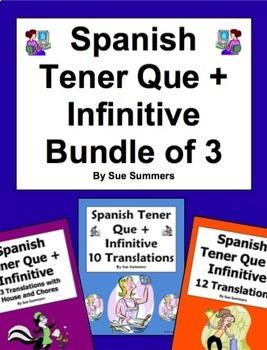 Spanish Tener Que + Infinitive Bundle of 3 Worksheets