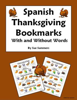 Spanish Thanksgiving Foods Bookmarks With and Without Voca
