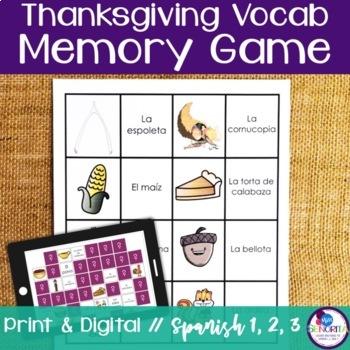Spanish Thanksgiving Memory Game