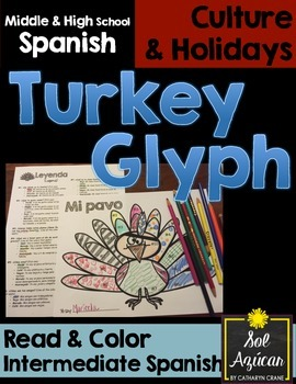 Spanish Thanksgiving Turkey Glyph - Read and Color - Intermediate