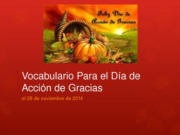 Spanish Thanksgiving Vocabulary Powerpoint