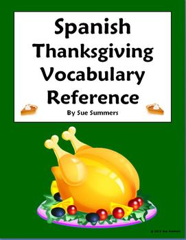 Spanish Thanksgiving Vocabulary Reference - English to Spa