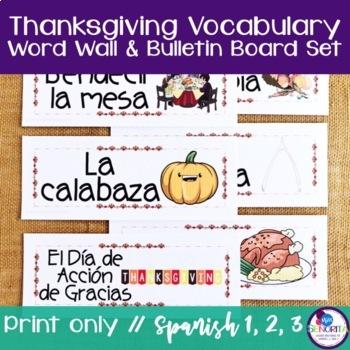 Spanish Thanksgiving Vocabulary Word Wall