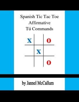 Spanish Tic Tac Toe Game - Affirmative Tú Commands