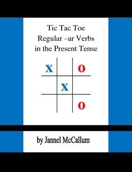 Spanish Tic Tac Toe - Regular AR Verbs in the Present Tense