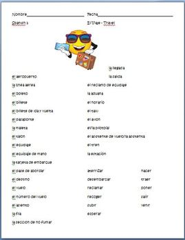 Spanish - Travel Vocabulary Sheet