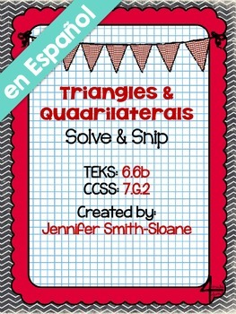 """Spanish Triangles and Quadrilaterals """"Solve and Snip"""" - Wo"""