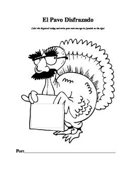 Spanish Turkey in Disguise Thanksgiving Activity - El Pavo