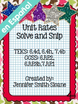 Spanish Unit Rates Word Problems Solve and Snip- Common Co