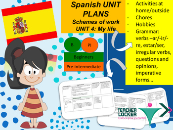 Spanish Unit plans Activities, actividades Unit 4 for beginners