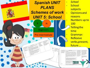 Spanish Unit plans School, Colegio Unit 5 for beginners