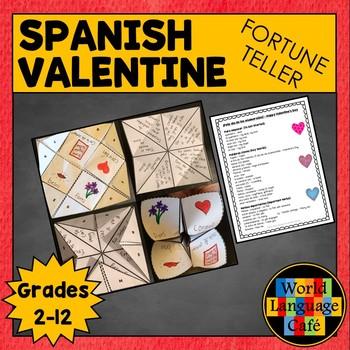 Spanish Valentine's Day Vocabulary, Fortune Teller, Cootie