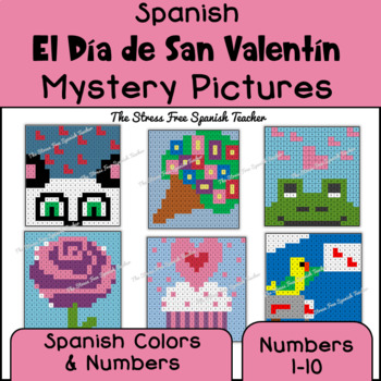 Spanish Valentine's Mystery Pictures! Color By Number / Gr