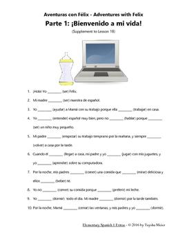 Spanish Verb Conjugation Practice Worksheet Story - Félix 1