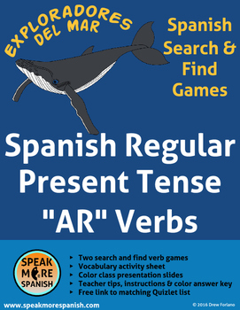 Spanish Verb Game * Regular AR Verbs * Presente de Verbos