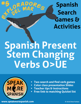 Spanish Verb Game * Stem Changers O>UE * Juego de verbos c