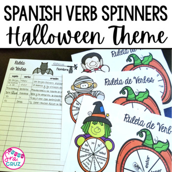 Spanish Verb Spinners:  Halloween Edition