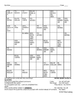 Spanish Verb and Pronoun Sudoku