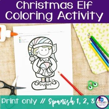 Spanish Verbs Christmas Elf Coloring Activities